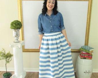 Smoke Blue and White Midi Skirt, Mini Skirt or Maxi Ball skirt  full, gathered skirt all sizes custom made to order