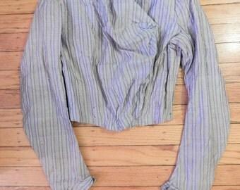 "Victorian Edwardian Striped Silk Bodice;  Boned Bodice, Sz XS; 33"" Bust; 24"" Waist"