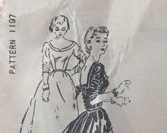 Vintage Spadea Dress Pattern 1197, Designer Harvey Berin, Square Back Neckline with Bow, 1950's Sewing Pattern