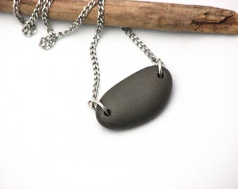 Nature Jewelry Beach Stone Necklace Earthy Jewelry River Rock Sterling Silver Black Pebble Necklace Lake Superior  Organic Stone