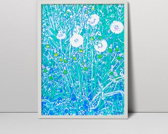 Handmade screen print painting Dandelions in the meadow serigraph screenprint original fine art floral flower spring decor artwork flowering