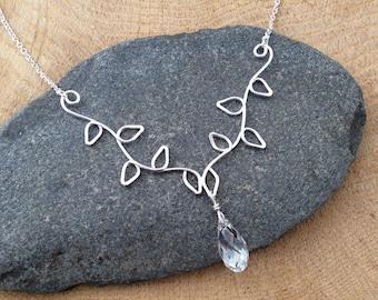 Silver Leaf Vine Necklace, Argentium Leaves Pendant, Swarovski Crystal