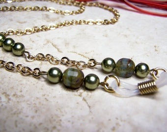 Green Eyeglass Necklace on a Gold Chain, 27 inches, Pearl Chain for Glasses, Birthday Gift
