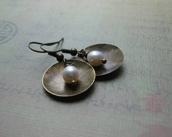 White Pearl Vintage Earrings - Pearl Cup Earrings - Metalwork Earrings - Handmade Artisan - Petite Lightweight Timeless Everyday Earrings
