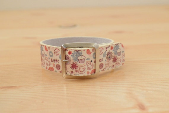 Cats bracelet,cat cuff,leather bracelet,leather cuff,wide cuff,kawaii bracelet,buckle cuff,bucke bracelet,printed leather,cat bracelet