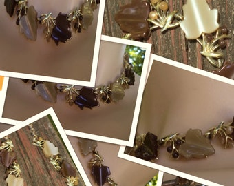 """Vintage 16"""" Autumn Leaves Choker Thick Lucite Leaves Brown and Taupe w Matching Seed Beads & Gold Tone Ornamental Spacers and Extension"""