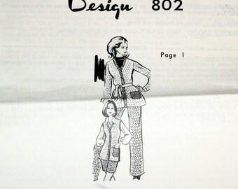 Vintage 1970s Design Mail Order Crochet Pattern 802 Crocheted Pants, Shorts, Jacket, Belt, Womens Misses Size 10 12 14 16 Bust 32 34 36 38