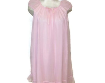 60s Pink Nightie Pink Nightgown Short Nightie Vintage 1960s Baby Doll  Pink Babydoll PJs Pink Lingerie Pink Chiffon Nightie Pink Negligée