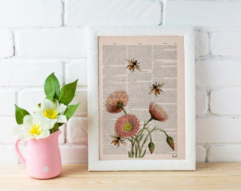Summer Sale Wall art home decor Bees with flowers 2 Dictionary art poster print- Wall decor bees insect wall hanging gift  BFL004