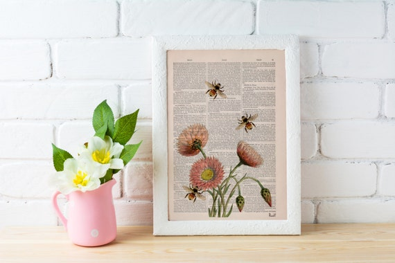Spring Sale Wall art home decor Bees with flowers 2 Dictionary art poster print- Wall decor bees insect wall hanging gift  BPBB04