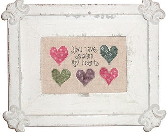 You Have Stolen My Heart cross stitch pattern by Lizzie Kate at thecottageneedle.com S37 Valentine's Day Wedding Anniversary