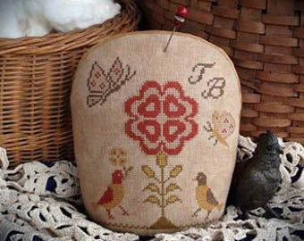 Come Dance With Me Pinkeep cross stitch patterns by Scattered Seeds Samplers at thecottageneedle.com Little Sparrow Pinkeep series