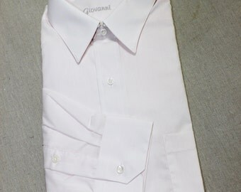 vintage 1980's -Giovanni- Men's long sleeve dress shirt. 'New Old Stock'. Shaped collar. Pink poplin. Large - 16 x 35. Made in USA