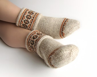 EU Size 36-37 - Fair Isle Hand Knitted Women's Woolen Socks - 100% Natural Wool