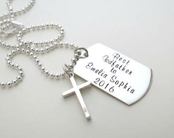 Personalized Godfather Necklace - Mens Cross Necklace - First Communion - Son - Daughter - Personalized Jewelry - Dad - Grandpa - Baptism