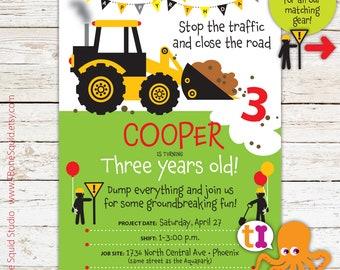 Construction, Truck, Birthday, Party, Invitations, Boys