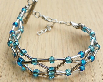 Beaded Bracelet adjustable bracelet woven bracelet silver bracelet aqua bracelet expandable bracelet handcrafted bracelet handmade bracelet