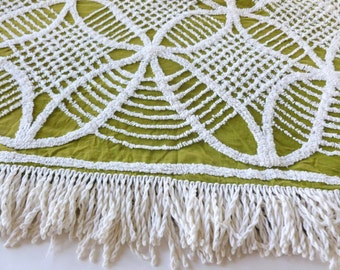 Olive Green and White Chenille Bedspread with Fringe Full Double Size