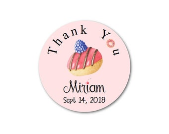 "Donut Stickers - Pink Stickers - Thank You Stickers - Custom Stickers - Birthday Stickers - 1.25"", 1.5"" or 2"""