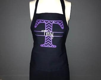 Chevron monogram Apron. Custom monogram apron personalized with monogram and name. Personalized gift idea for mothers day, teachers, bride