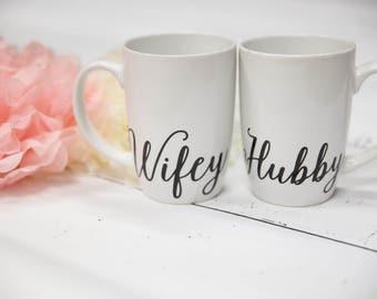 Hubby Wifey Mugs, His Hers Gift Set, His Mug, Hers Mug, Couples Mugs, Wifey and Hubby, His and Hers Mugs, Wedding Couples Mug, Coffee Mug.