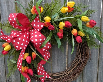 Wreath with Red Tulips, Wreath with Polka Dots, Tulip Wreath, Red Wreath, Wreath for Door Mantle or Wall