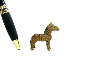 Miniature Zebra Figure. Carved Wood. Painted Figurine. Tiny African Animal Collectible. Vintage Shadow Box.