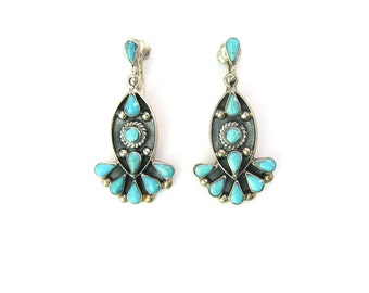 Southwestern Earrings. Tear Drop Turquoise. Native American Zuni Style. Taxco Sterling Silver Dangles. Vintage Mexico Statement Jewelry