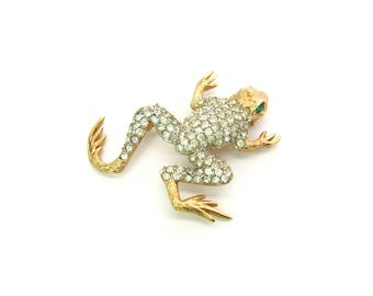 Napier Frog Brooch. Rhinestone Leaping Amphibian Figural. Crystal Body, Textured Gold Tone, Green Eyes. Vintage 1960s Animal Jewelry