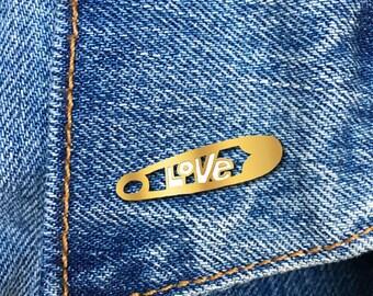 Love Safety Pin, Enamel Pin, Hard Enamel Pin, Jewelry, Art, Gift (PIN76)