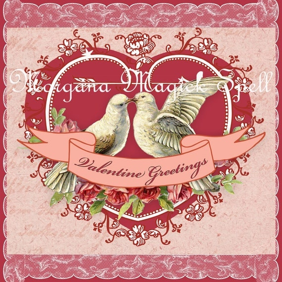 Printable Valentine Doves Card