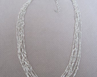 Six Strands Petite Silver Beaded n Twisted Chain Necklace with Extender