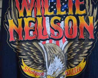 RARE Vintage Willie Nelson Shotgun Willie American Eagle T Shirt S M L Tunic Tee Tank Boho Hippie Gypsy Country Outlaw Grunge Bohemian USA