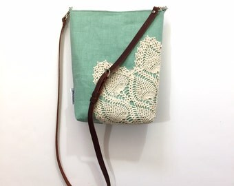 Ready to Ship Seafoam Linen Crossbody Purse with Adjustable Leather Strap