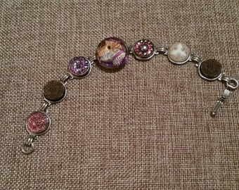 SCOTTY DOG BUTTON Bracelet  Hand Painted Irridescent Glass Purples Pinks Golds Dog Lovers
