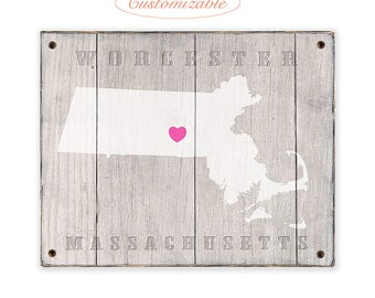 MASSACHUSETTS Rustic print sign - Customized for your town or city in Massachusetts - Rustic weathered wood sign