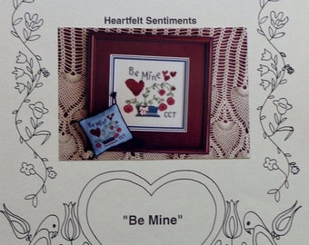 50%OFF Theron Traditions Heartfelt Sentiments BE MINE Sampler Picture Pin Cushion - Counted Cross Stitch Pattern Chart