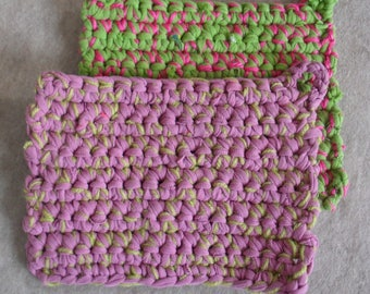 Pink/lime Pot-holder Recycled Up-cycled T-rope T-shirt yarn