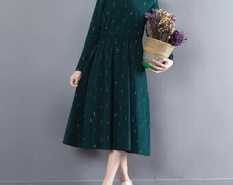 All sizes Handmade Japanese inspired Green dress, green dress, Floral Printing, Autumn dress, sleeve dress, vintage dress, romantic dress