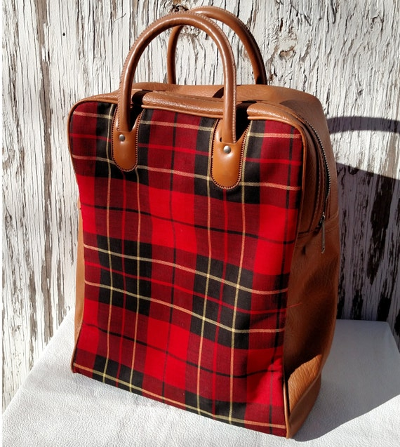 Vintage 1970's Red Plaid and Brown Vinyl Large Handle Bag
