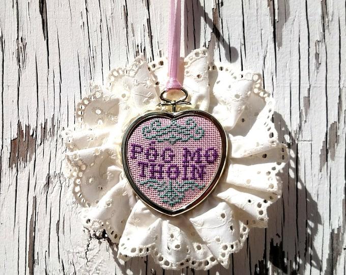 Framed Mini Embroidery - Pog Mo Thoin