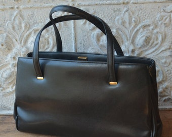 Large Black Leather Vintage Handbag By Margolm