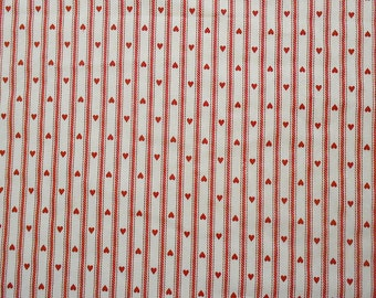 Vintage Hearts on Red and White Pillow Ticking Striped Fabric