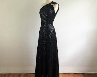Vintage 50s Old Hollywood black sequined floor length evening dress - 1950s one shoulder asymmetrical formal dress - medium