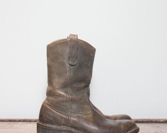 SALE 8 B | Men's Vintage Browning Sportsman Boots Pull On Pecos Style Hunting Boot