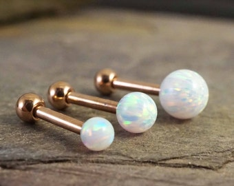 Rose Gold Triple Helix Earring Rose Gold Cartilage Earring White Fire Opal