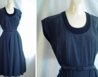 Vintage 1940's Dress Maternity Cocktail Dress Black Faille LBD Elastic Waist 40 x free x 54