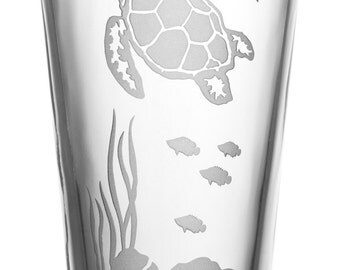Sea Turtle, 16oz Glass, etched (Sandblasted), Original Design