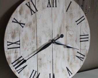 "Large Round Clock. Shabby Chic Farmouhouse style.  24"" inch or choose your size. New Pine Made to look like reclaimed pallet or barn wood"