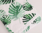 Baby Blanket, Minky Blanket, Green, Palm Leaf, Tropical, Gender Neutral Blanket